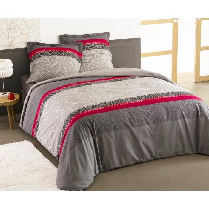 VISION Parure de couette ALFRED 100% coton - 1 housse de couette 240x260 cm + 2 taies d'oreillers 65x65 cm gris, rouge et blanc