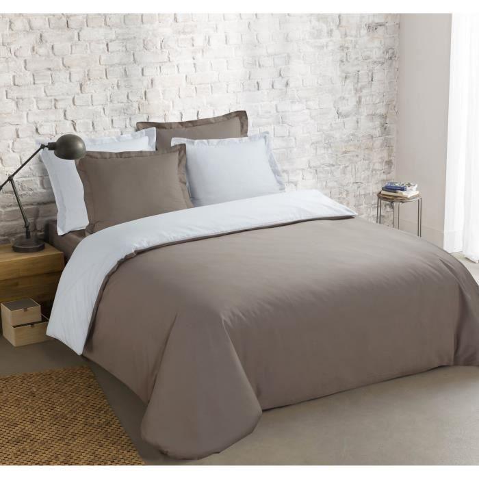 VISION Parure de couette Bicolore 100% coton - 1 housse de couette 240x260 cm + 2 taies 65x65 cm taupe et blanc