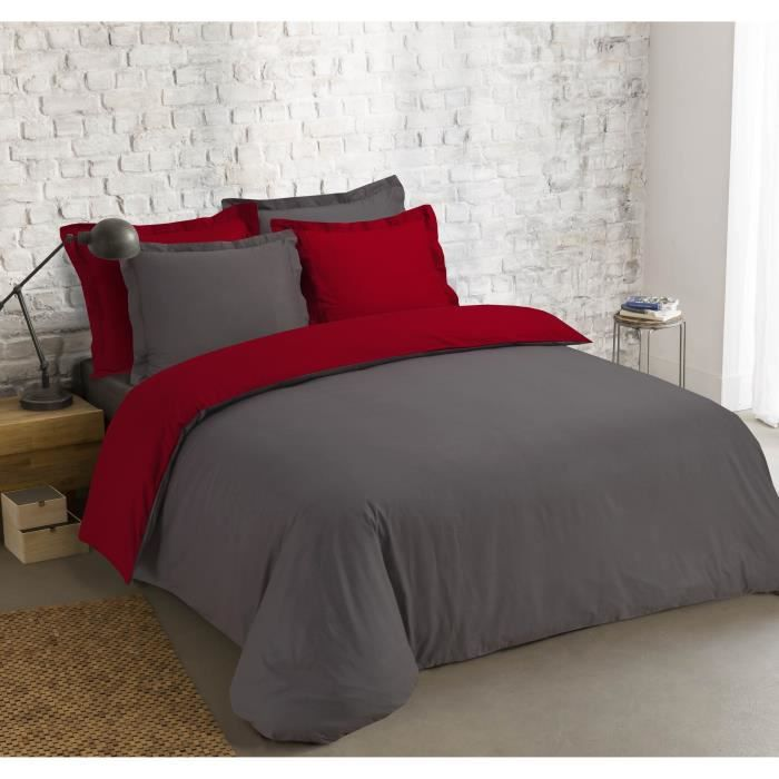 VISION Parure de couette Bicolore 100% coton - 1 housse de couette 240x260 cm + 2 taies 65x65cm anthracite et rouge
