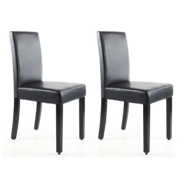CLARA Lot de 2 Chaises de salle a manger - Simili marron - Classique - L 43 x P 45 cm