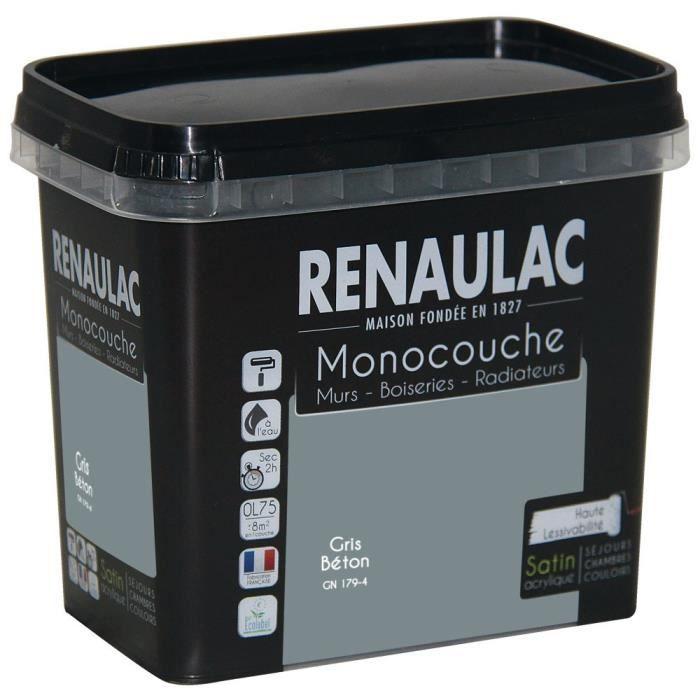 Pittura murale multisupporto monostrato 0,75 L grigio cemento satinato Pareti / Falegnameria / Radiatori - RENAULAC