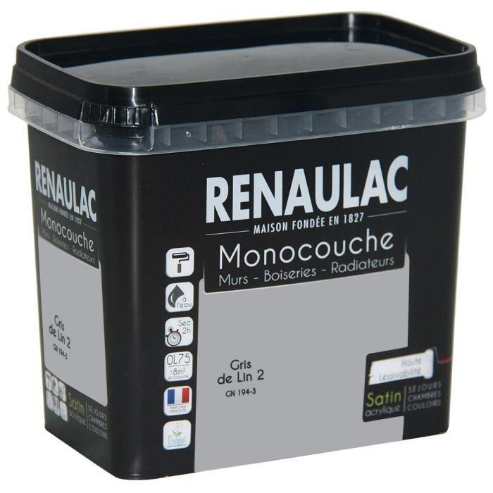 Pittura murale multisupporto monostrato 0,75 L grigio lino satinato Pareti / Falegnameria / Radiatori - RENAULAC