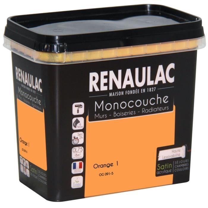 Pittura murale multisupporto monostrato 0,75 L arancio satinato Pareti / Legno / Radiatori - RENAULAC