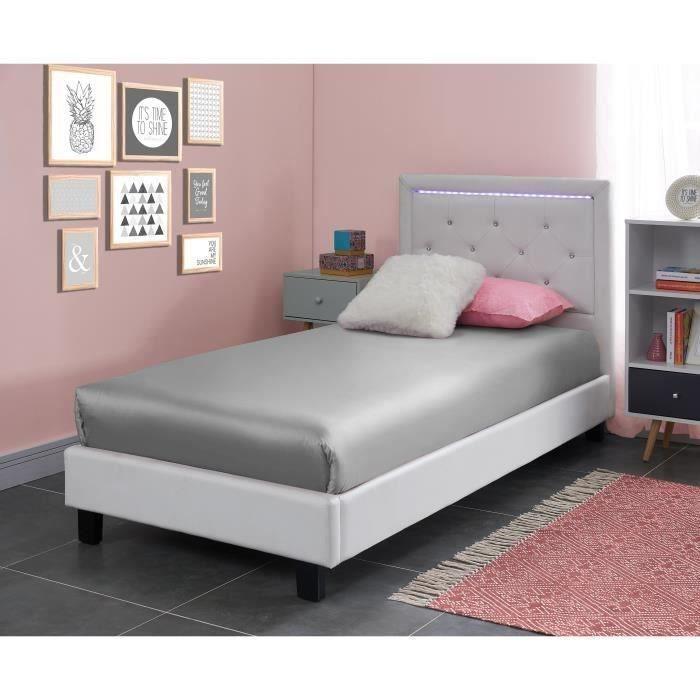 LUCIE Lit enfant - Contemporain - Simili blanc + sommier et tete de lit capitonnée avec LED - l 90 x L 190 cm