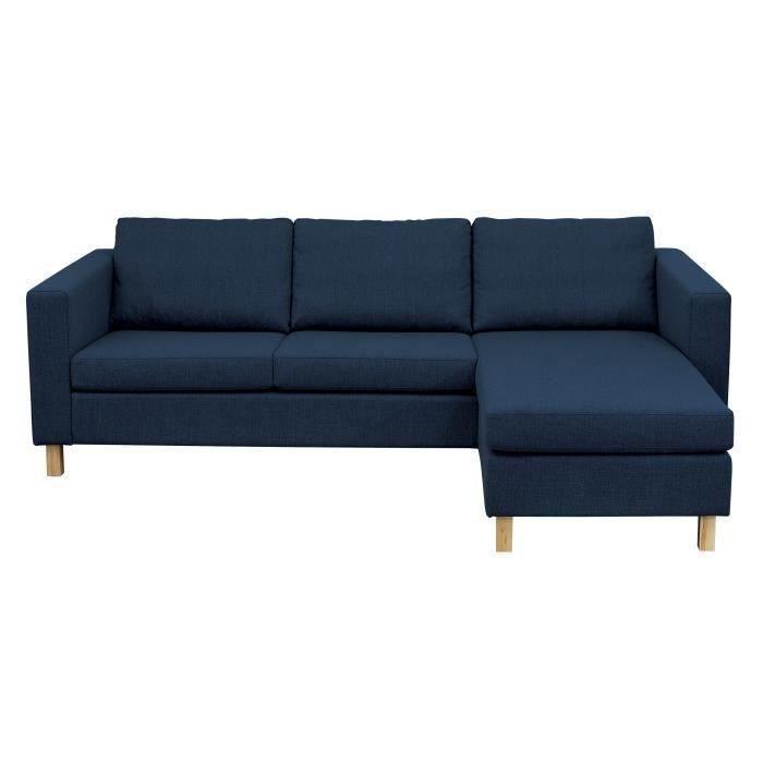 FINLANDEK Canapé d'angle réversible 5 places ISKO - Tissu bleu - Scandinave - L 245 x P 154 cm