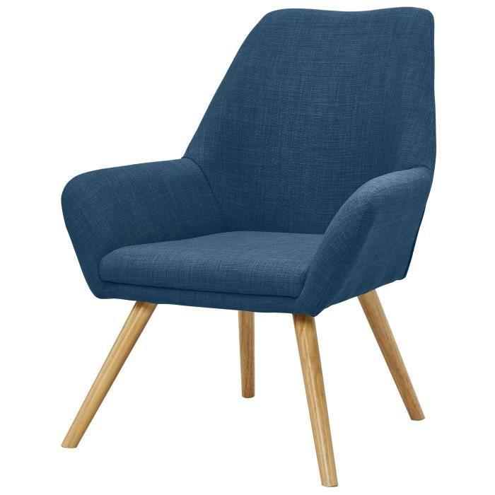 OLGA Fauteuil en métal + pieds en bois massif -Tissu polyester bleu - Scandinave - L 72 x P 71 cm