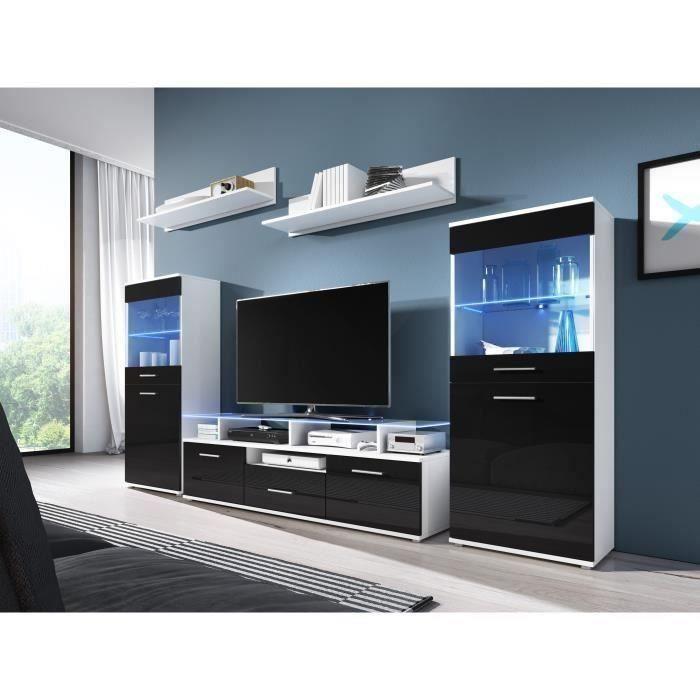 ELIO Meuble TV LED contemporain blanc et noir brillant + plateau en verre - L 252 cm