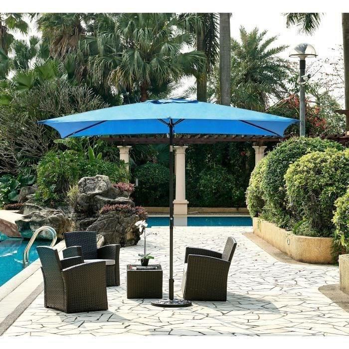 Parasol droit 3x2 m inclinable - Mât Aluminium avec toile polyester 160 g/m² - Bleu