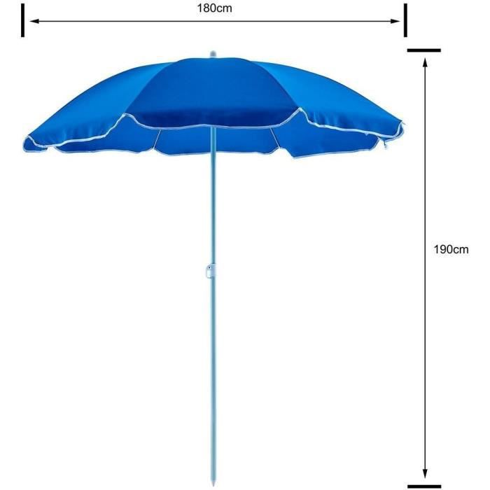 Parasol droit diametre 1,80 m - Structure acier en polyester anti-uv - Bleu