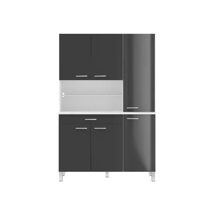 ECO Buffet de cuisine contemporain L 120 cm - Blanc et gris mat