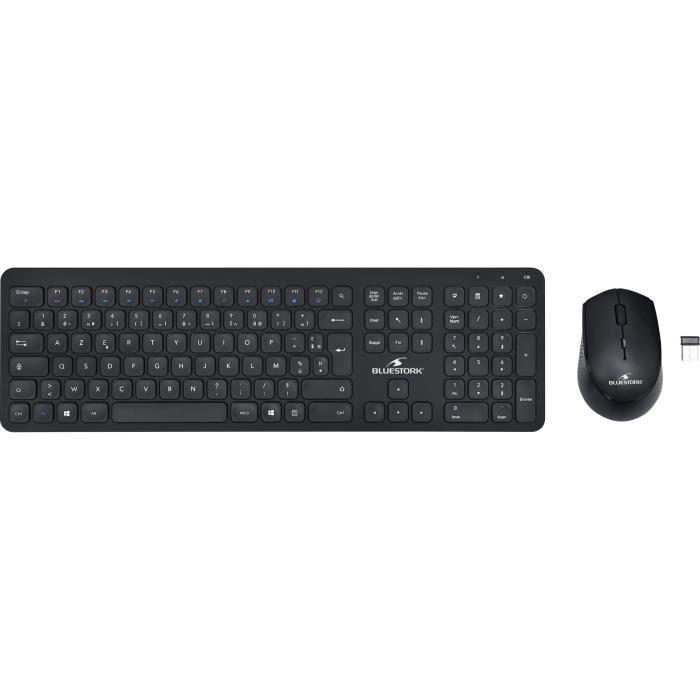 Pacchetto mouse tastiera nera wireless SLIM