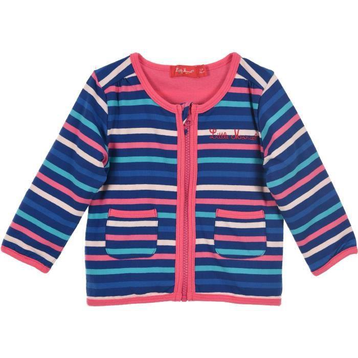 Cardigan con zip MARCEL Bambina 95% cotone / 5% elastan blu scuro