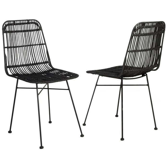 ELIA Lot de 2 chaises en rotin noir - Pieds en métal - Ethnique - L 44 x P 40 cm