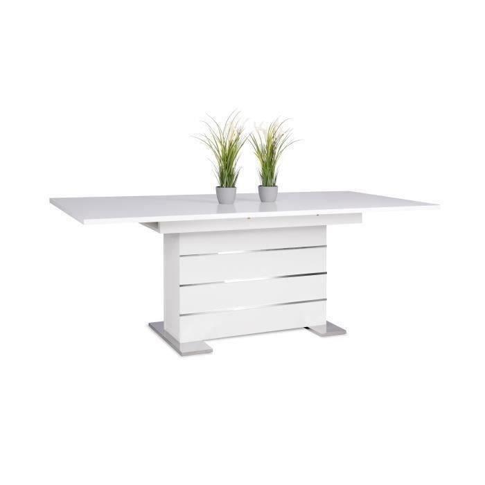 Table extensible 6 a 8 personnes - Contemporain - Blanc et alu - MANTOVA - L 160 a 200 cm