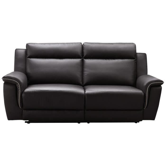 COCOON Canapé de relaxation droit 3 places - Simili marron - Contemporain - L 205 x P 96 cm