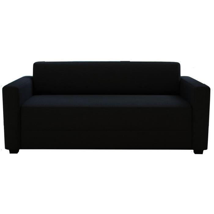 FINLANDEK Canapé droit convertible KULMA 3 places - Tissu noir - Contemporain - L 166 x P 81 cm