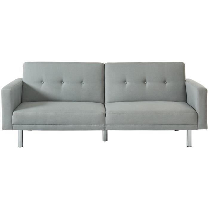 MONTREAL Canapé droit clic-clac 3 places - Tissu gris clair - Contemporain - L 209 x P 82 cm