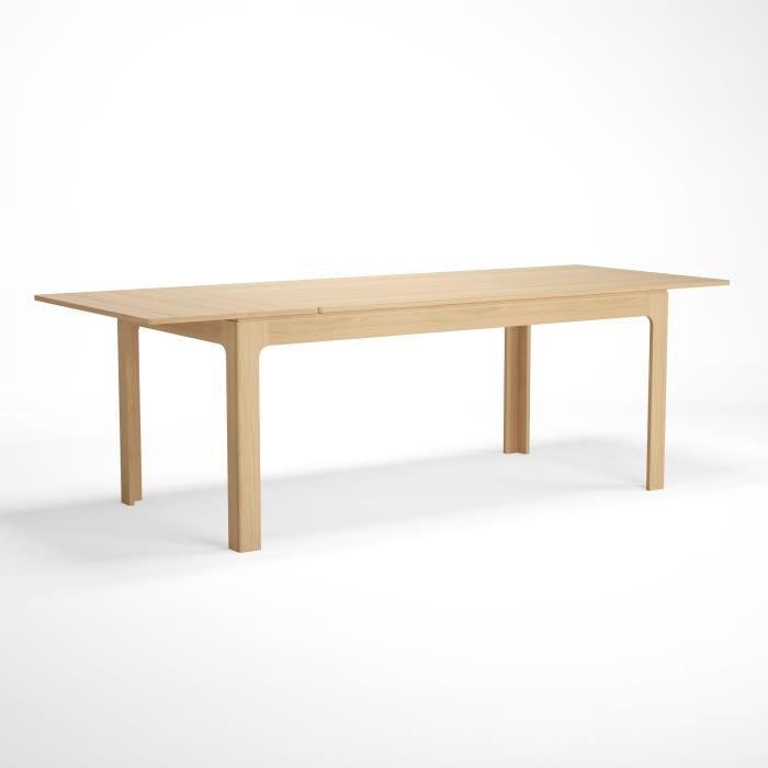 Table extensible avec 1 allonge intégrée - Décor chene - Pieds en hetre - L 180 x P 90 x H 76 cm