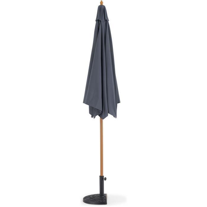 Parasol droit  diametre 3m - Mât bois rond et polyester 160g/m² - Gris