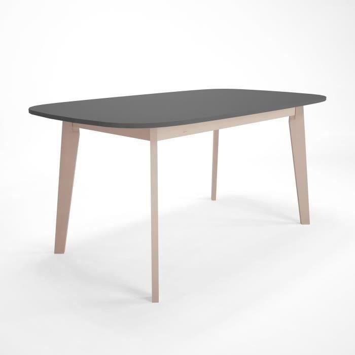 NAISS Table a manger extensible - 6-8 personnes - Style contemporain - Plateau anthracite- L 160/200 cm