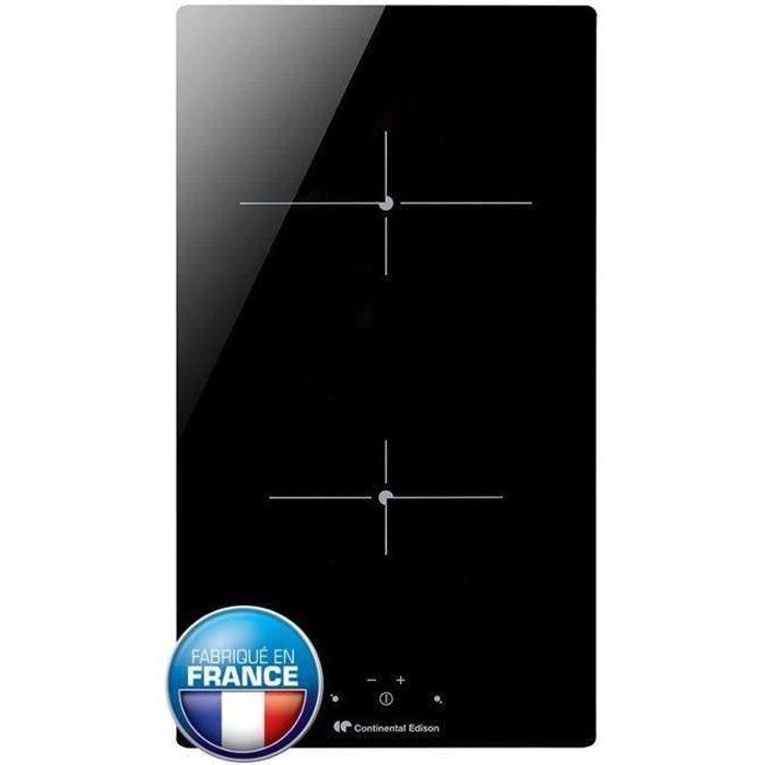 CONTINENTAL EDISON CECP102RP2 Piano cottura in vetroceramica - 2 zone - 3000 W - L 29 x P 52 cm - Rivestimento in vetro - Nero