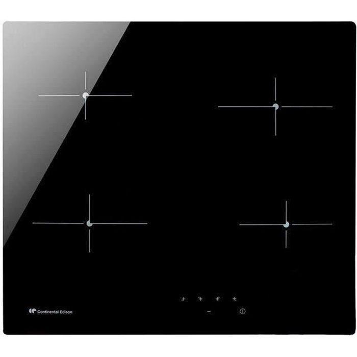 CONTINENTAL EDISON CECP104RP2 Piano cottura in ceramica - 4 zone - 6000 W - L 59 x P 52 cm - Rivestimento in vetro - Nero