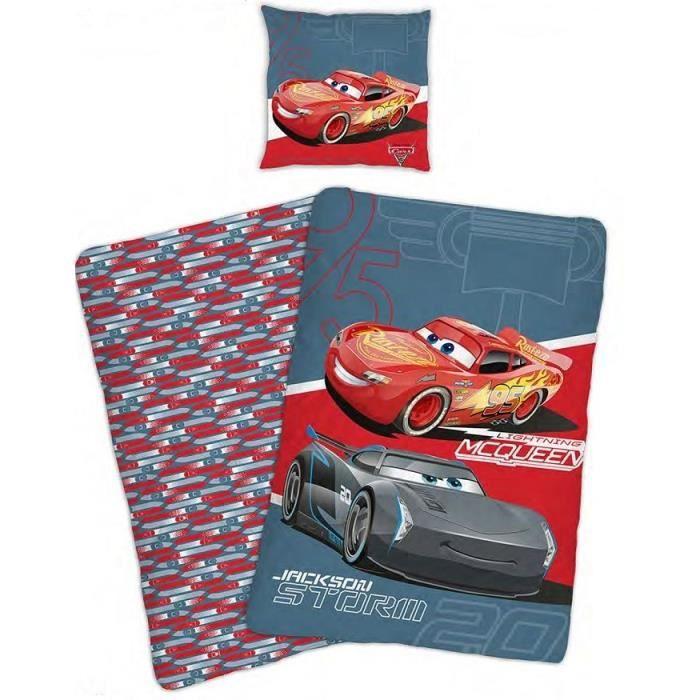 CARS Parure de couette enfant - 1 housse de couette 140x200 cm + 1 taie d'oreiller 63x63 cm rouge et gris