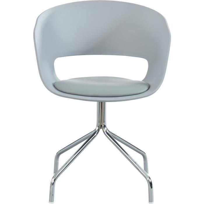 LORIS Chaise de bureau - Simili gris - Style contemporain - L 58 x P 56 cm
