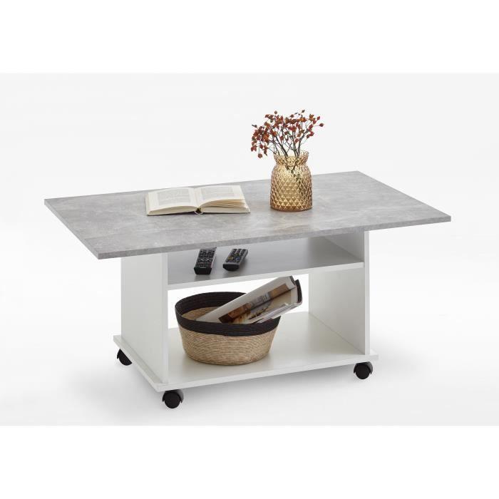 Table basse AZUR - Contemporain - Blanc et gris effet béton - L 100 x l 60 cm