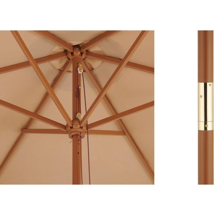 Parasol droit  diametre 3m - Mât bois rond et polyester 160g/m² - Taupe