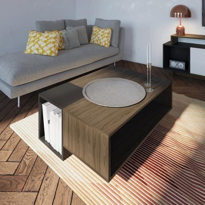 KUBE Table basse style contemporain mélaminée décor noyer et gris anthracite mat - L 89 x l 67 cm
