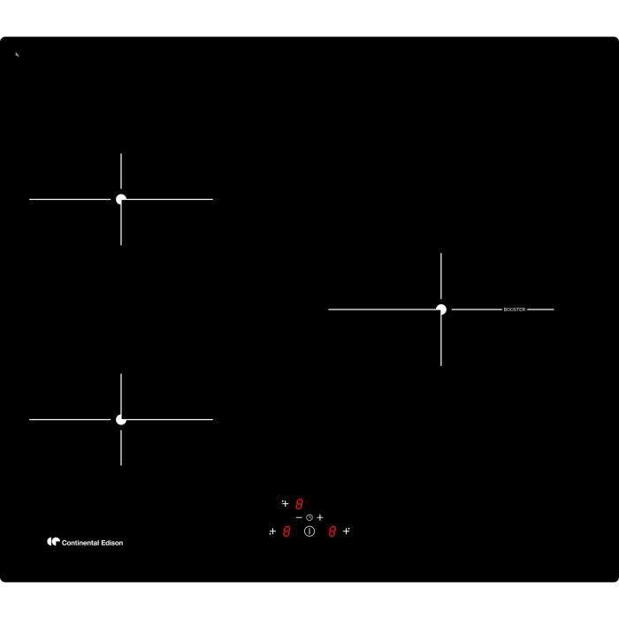 CONTINENTAL EDISON - TI3Z1B - Piano cottura a induzione - 3 zone - 4900W - L59xP52cm - Nero