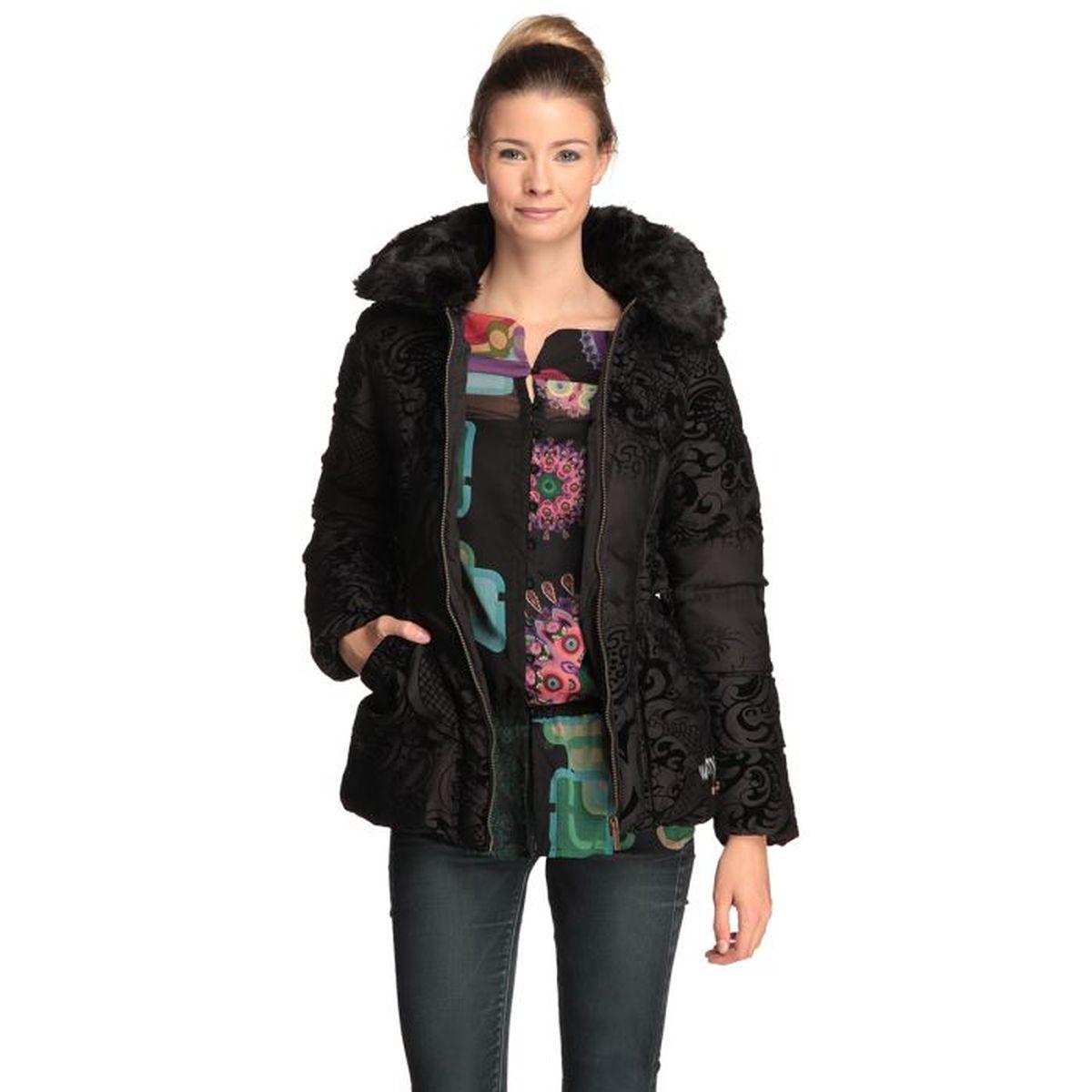 79159d57e144ee DESIGUAL Doudoune Femme Rocio Noir - Achat / Vente doudoune - Soldes ...