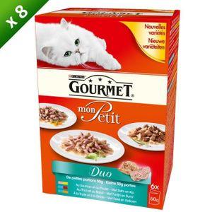GOURMET Petit duo de poissons et viandes - Pour chat - (x8)