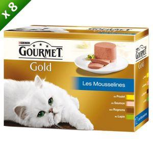 GOURMET Gold Coffret Les mousselines - Pour chat adulte - 12x85g (x8)