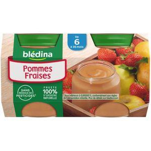 DESSERT FRUITS BÉBÉ BLEDINA Petits pots Purée de fruits Pomme fraise -