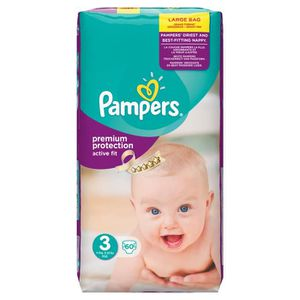 COUCHE PAMPERS Active Fit Taille 3 - 4 à 9 Kg - 60 couche