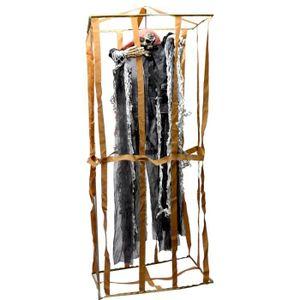 Déco de fête murale Squelette habille dans cage son et lumiere 90 cm