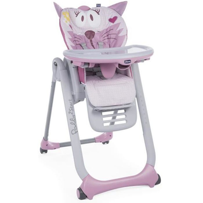 CHICCO Chaise Haute Polly 2 Start 4 Roues Miss Pink