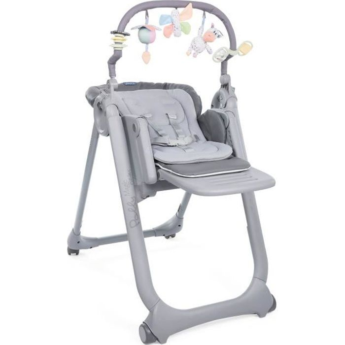 CHICCO Chaise Haute Polly Magic Relax 4 Roues graphite