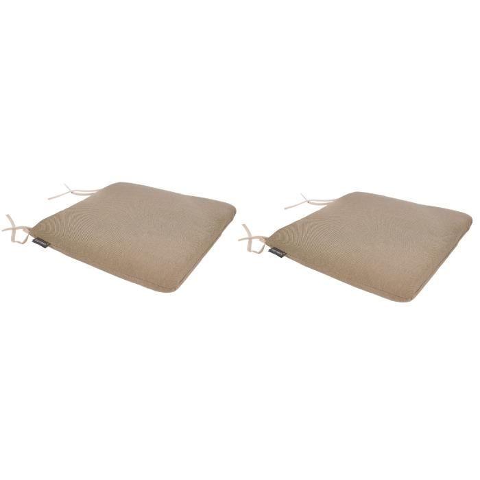 EZPELETA Lot de 2 Coussins de chaise spécial Outdoor Green - 40 x 40 cm - Beige