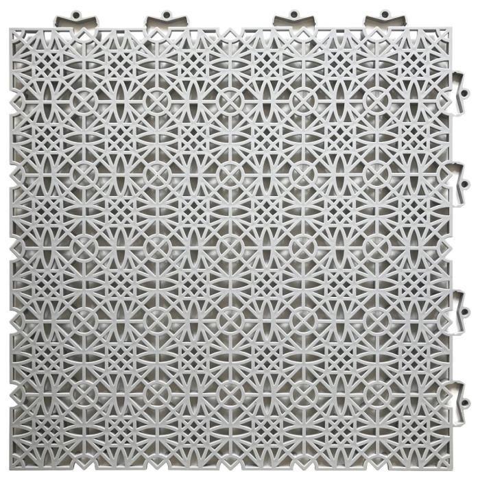 D-C-FLOOR Dalles de sol clipsables - Polypropylène - 38 x 38 x 1 cm - Gris