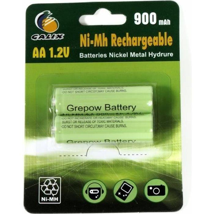 GALIX Lot de 2 piles rechargeables Ni-Mh LR06/AA - 1,2 Volts - 900 mAh