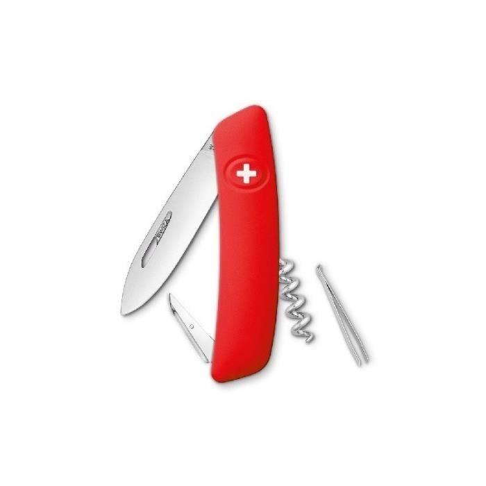 Couteau de camping - Coloris Rouge - Acier inoxydable - Lame, poinçon avec chas d'aiguille, tire-bouchons, pincettesCOUTEAU MULTIFONCTIONS - ACCESSOIRES DE COUTEAU MULTIFONCTIONS