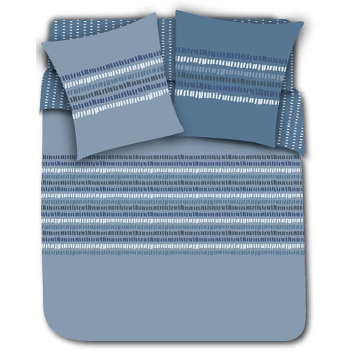 Matière : 100% coton 52 fils - Finition boutons - Dimensions : 140x200/ 63x63 cm - Coloris : bleu et multiPARURE DE COUETTE