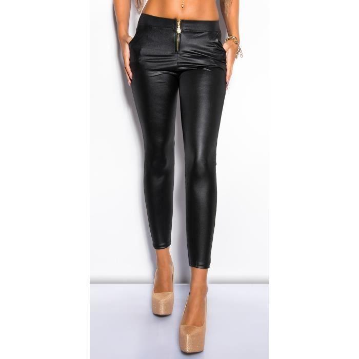 Legging sexy noir pantalon immitation cuir - Achat   Vente legging ... 6cb8e03914d