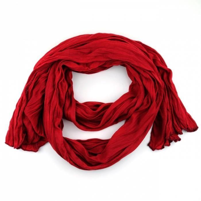 Foulard uni femme homme Rouge Bordeaux viscose Rouge - Achat   Vente ... b44e36a133d