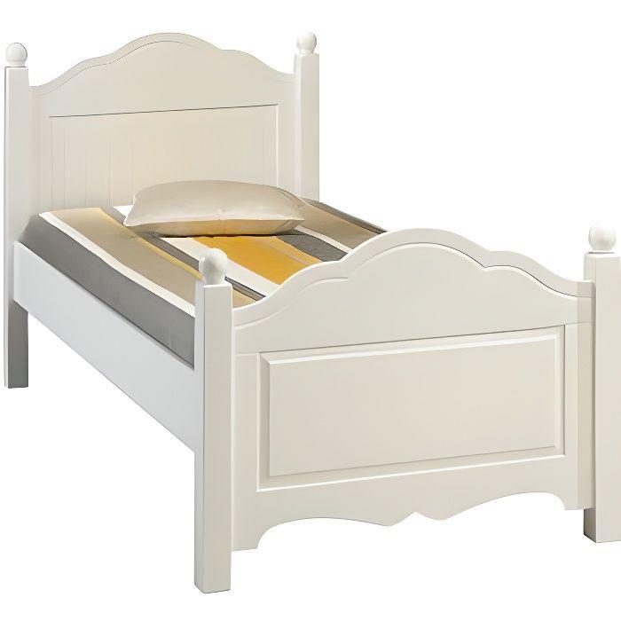 lit blanc 1 place 90 x 190 cm achat vente structure de lit lit blanc 1 place 90 x 190 cm mdf. Black Bedroom Furniture Sets. Home Design Ideas
