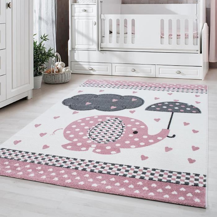 Tapis enfant chambre enfant chambre bébé Éléphant mignon avec nuage gris  rose [Ø 120 cm Rond]