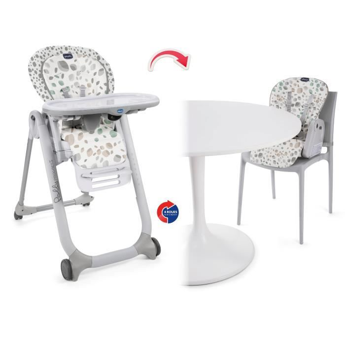 CHAISE HAUTE  CHICCO Chaise Haute Polly Progress - 4 roues Mirag